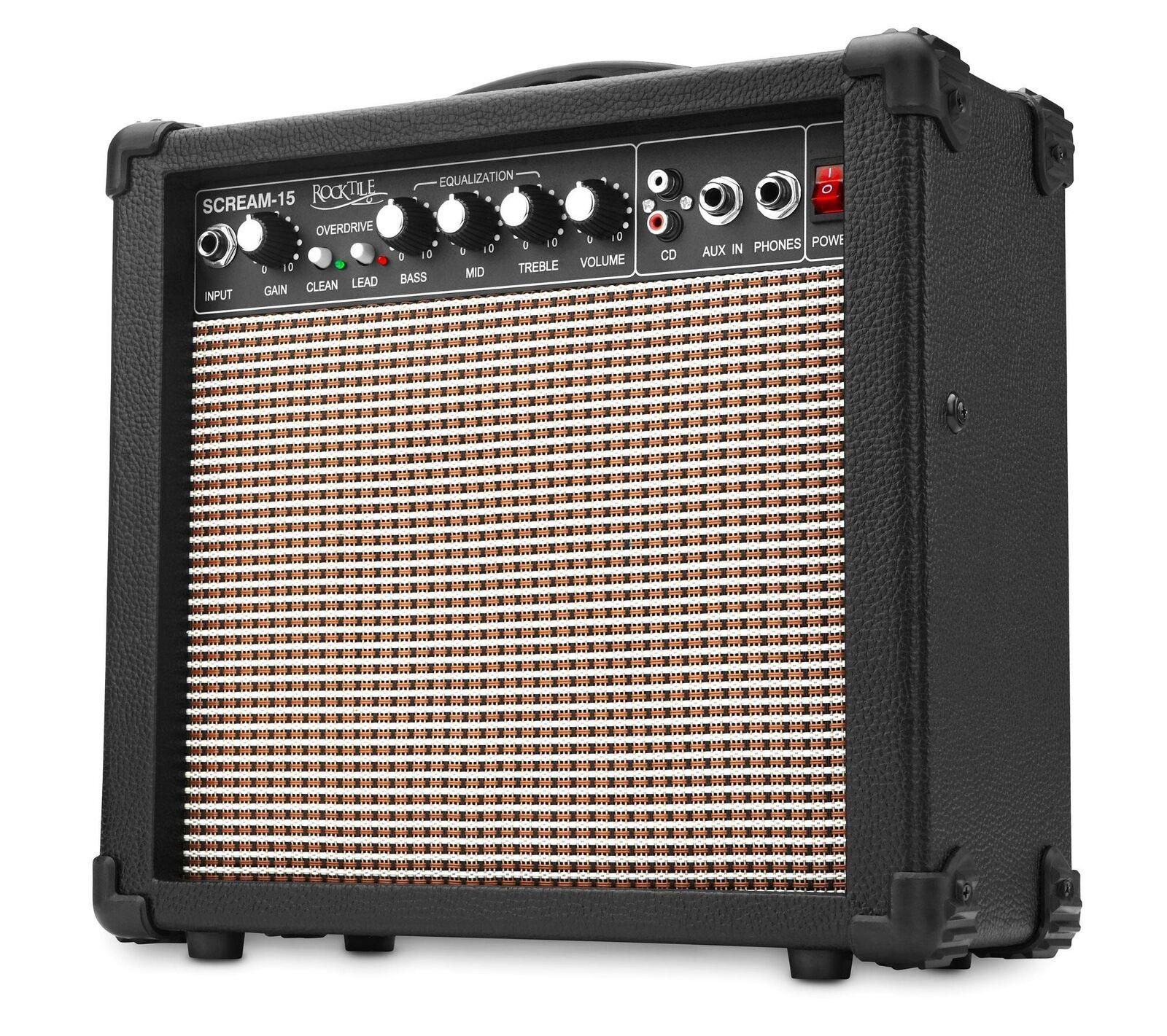 Electric Guitar Mini Amplifier Combo Amp 2 Channels Jack 15W EQ MP3 Aux in Amp