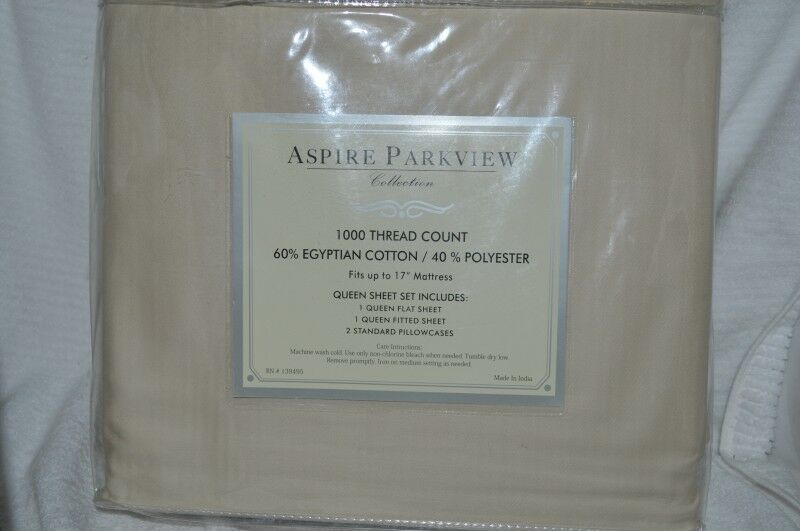 Aspire Parkview Collection 1000TC Beige Queen Sheet set NIP