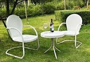 Image Is Loading 3 Pc Metal Vintage Retro Outdoor Furniture Lawn