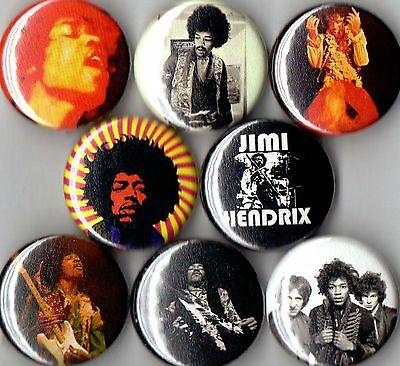 Jimi Hendrix 8 pin buttons badges guitar experience new