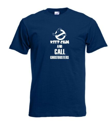 FUNNY SLOGAN MEN T-SHIRT SIZE FROM S TO XXXL GIFT KEEP CALM CALL GHOSTBUSTERS.