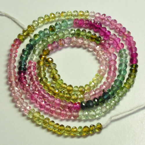 3.2 Mm RUBELLITE ROSE VERT TOURMALINE Faceted Blotter Perles 16.5 in Strand environ 41.91 cm