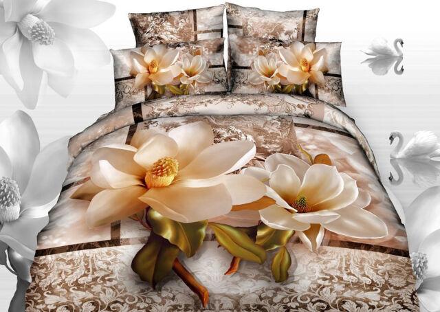 3D Effect Double / King Size 3 PCS Bedding Duvet Linen Set 100% Natural Cotton