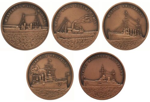 BRONZE COIN 5 PCS SET UNC TURKEY 2015 TURKISH NAVY IN DARDANELLES VICTORY COMM