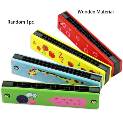Musical Instrument Educational Toy 16 Holes Harmonica Wooden//Metal Painted