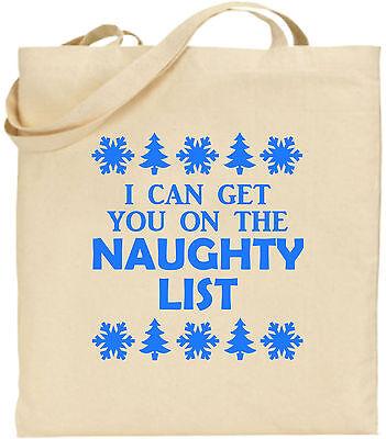 I Can bekomme du UNGEZOGEN Liste groß Baumwolle Einkaufstasche WEIHNACHTEN