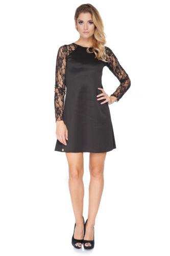 Womens Lovely Mini Dress Lacy Long Sleeve Crew Neck Sizes 8-18 FA454
