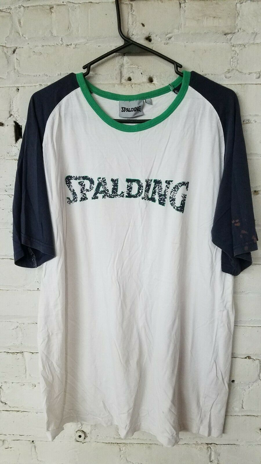 Rare Mens Spalding Ireland Limited Short Sleeve T-shirt White with bluee Size XL