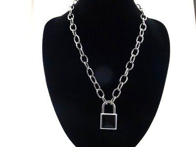 Heart Padlock Lock Pendant Charm 50cm Choker Chain Black Color
