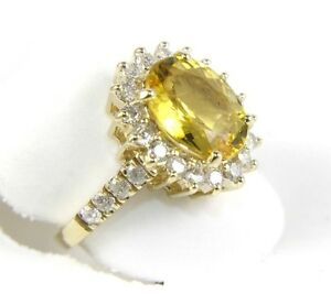 Fine-Oval-Cut-Beryl-Lady-039-s-Ring-w-Diamond-Halo-amp-Accents-3-55Ct-14k-Yellow-Gold