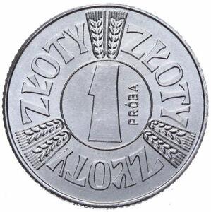 Polen-Muenze-1-Zloty-1958-Mai-in-einem-Kreis-Probe-Aluminium-Stempelglanz
