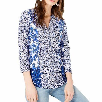INC NEW Women/'s Blue Exotic Bouquet Lace-up V Neck Blouse Shirt Top XS TEDO