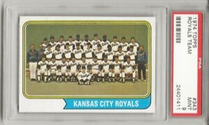 SET-BREAK-1974-Topps-343-KANSAS-CITY-ROYALS-TEAM-PSA-9-MINT-GEORGE-BRETT