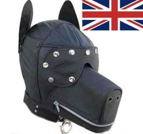 QUALITY DOG FETISH HOOD FAUX LEATHER GIMP MASK UK POST!