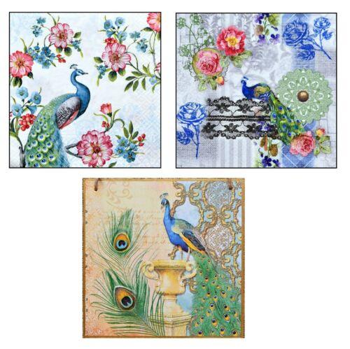 Wall Hanging plaque//Photo vintage paon fleurs oiseaux Plume Or