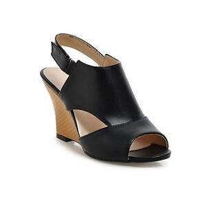 Détails sur Sandales Chaussons Noir Femme Cuir Synthetique Compensé 9 cm Chic et Confortable