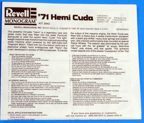 Revell 1971 Plymouth Hemi Cuda Decals /& Instructions 1//24 Scale