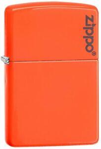 Zippo-60002137-NEON-ORANGE-Logo-Lighter-Benzin-Sturm-Feuerzeug