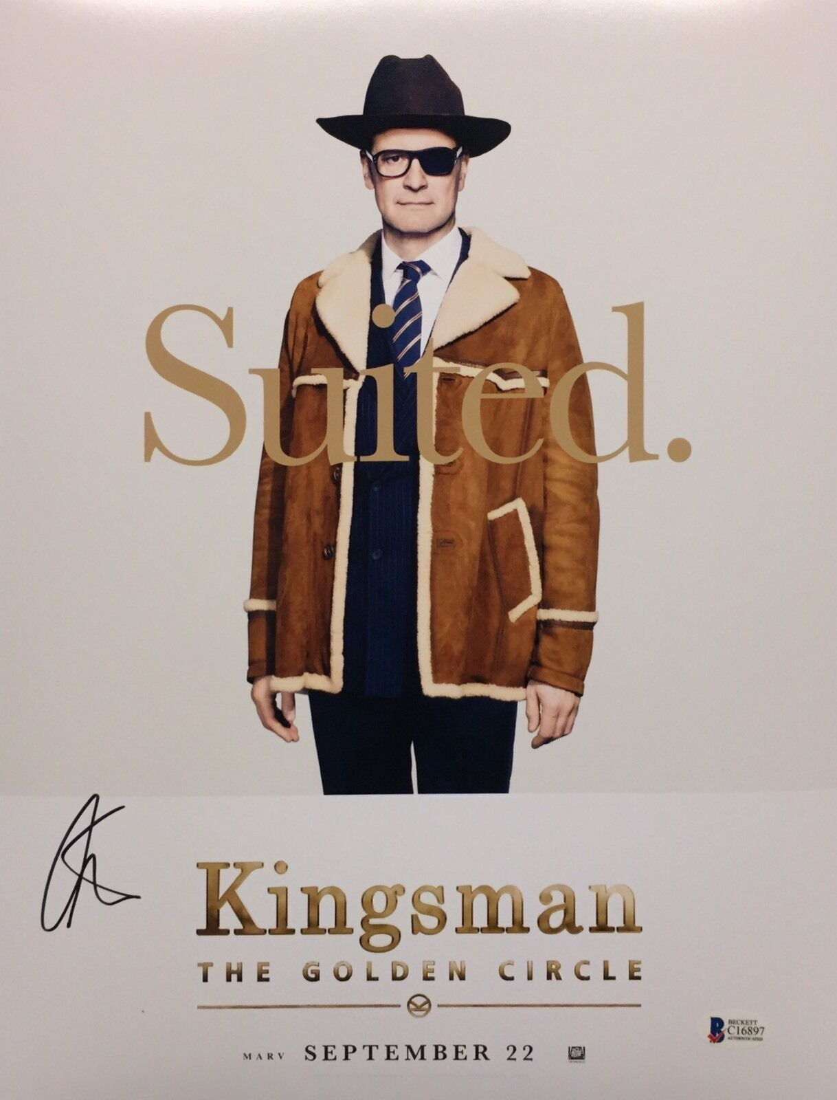 Colin Firth Signed Kingsman The Golden Circle 11x14 Photo BAS Beckett C16897