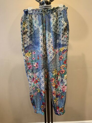 Johnny Was 100% Silk Floral Print  Jogger Lounge P