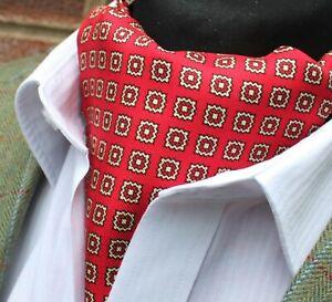 Prix Pas Cher Soie Cravate Ascot. Quality Hand Made In Uk. Rouge & Light Gold Dbc06-20411-7-afficher Le Titre D'origine Soyez Astucieux Dans Les Questions D'Argent