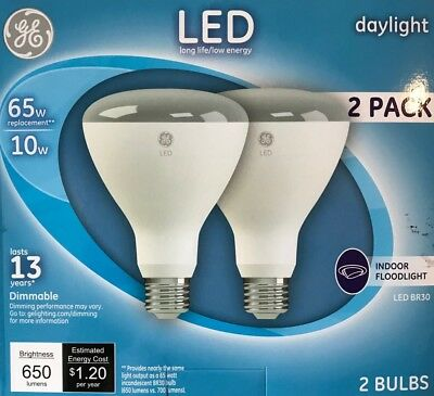 GE Relax 2-Pack 65 W Equivalent Dimmable Daylight Br30 LED Light Fixture Light Bulb