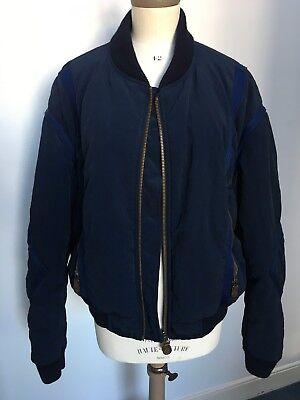 Aggressivo Armani Jeans 1980s Vintage Blu Navy Tessuto E Treccia Bomber Gb Taglia 40-mostra Il Titolo Originale Rinvigorire Efficacemente La Salute