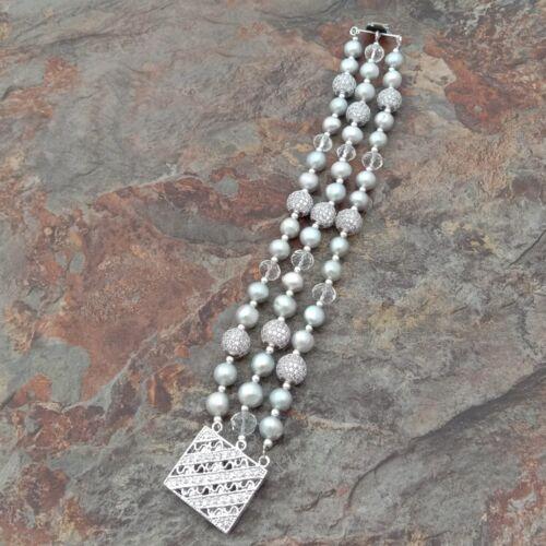 """8/"""" 3 rangées Gris Ronde Perle Quartz Transparent CZ Pave Bracelet"""
