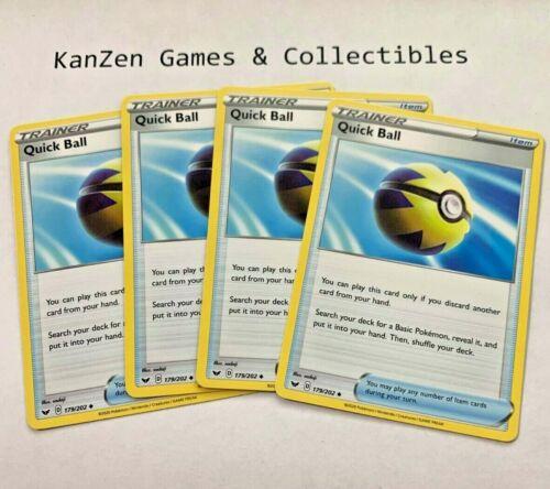 Playset 179//202 Uncommon Non-Holo Mint//NearMint Pokemon TCG SWSH 4x Quick Ball