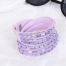 Swarovski Elements Pave Crystal & Leather Double Strap Bracelet Violet