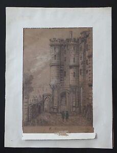 Dessin-crayon-MONT-SAINT-MICHEL-1886-signe-XIX-A-IDENTIFIER