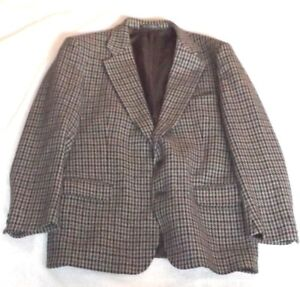 Mens Vintage Austin Reed 42 107cm White Black Grey Check Suit Jacket Ebay