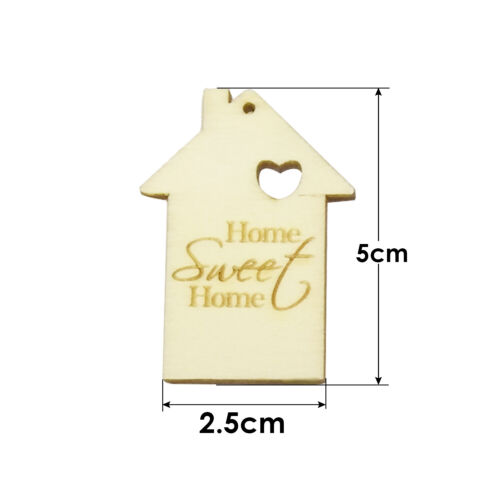 MDF Wooden Sweet Home Shapes Tags Craft Card Embellishments Make Scrapbook