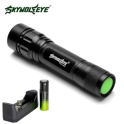 Black 15000 LM 3 Mode Lamp XM-L T6 LED Zoomable Focus Flashlight+18650+Charger