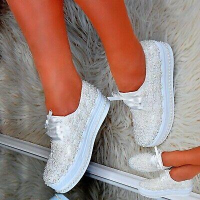 Women Flat Platform Shoes Satin Lace Ivory Goth Punk Bridal Trainers Pumps Size