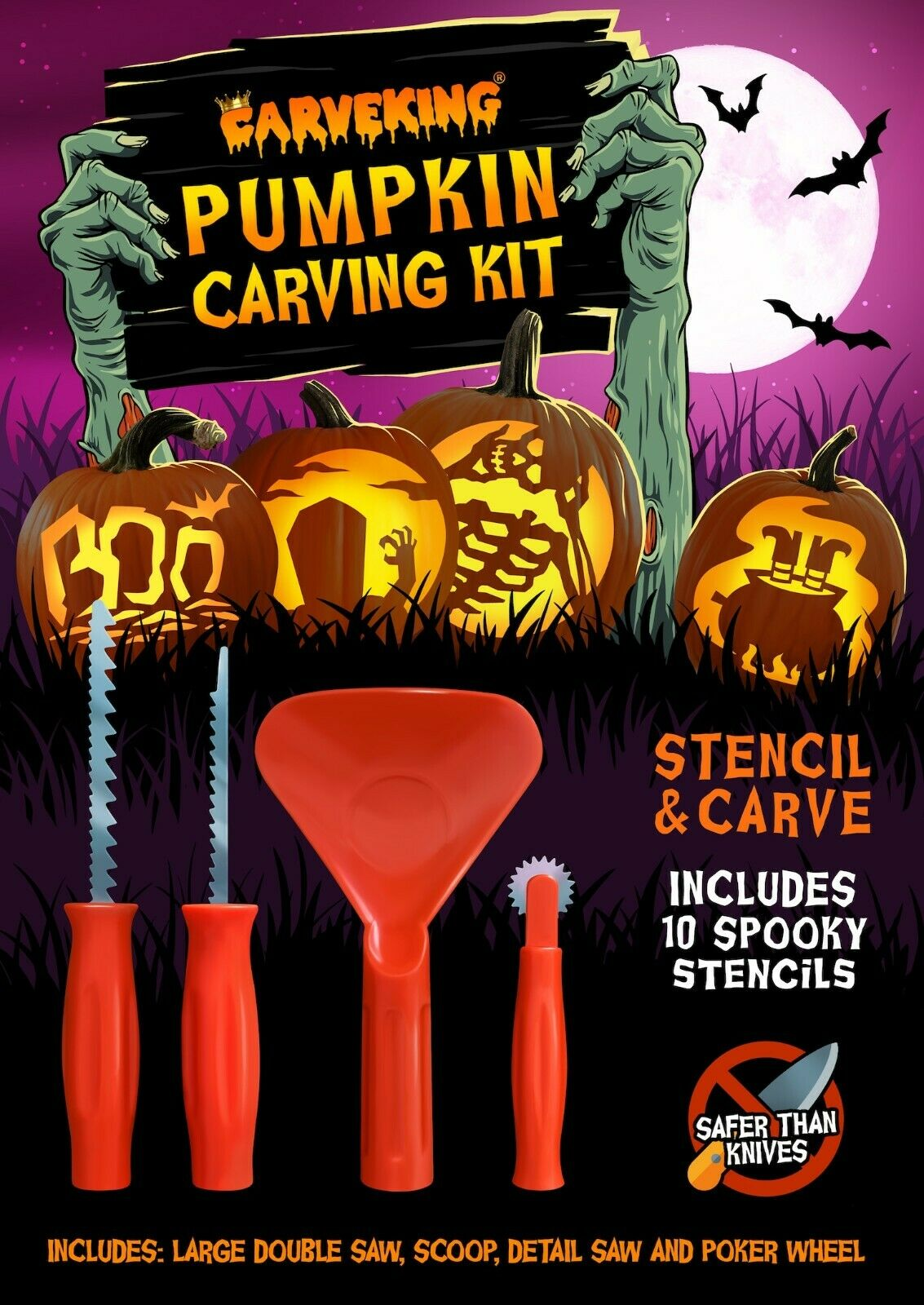 Pumpkin Carving Kit with 10 Stencils (Stencil & Carve by CarveKing)