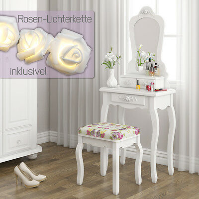 Schminktisch Hocker Kosmetiktisch Frisierkommode Frisiertisch Spiegel Princess