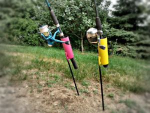 "Papio Creek Pro Series Rod Holder 24"" - USA Steel Construction Red, Yellow, Pink"