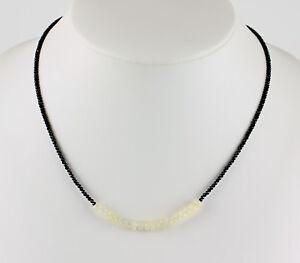 Schwarze-Spinell-kette-mit-Opal-edelsteinkette-facettiert-Collier-Halskette-Edel