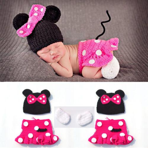Newborn Baby Boy Girl Mickey Minnie Mouse Costume Cake Smash Photo Shoot Clothes