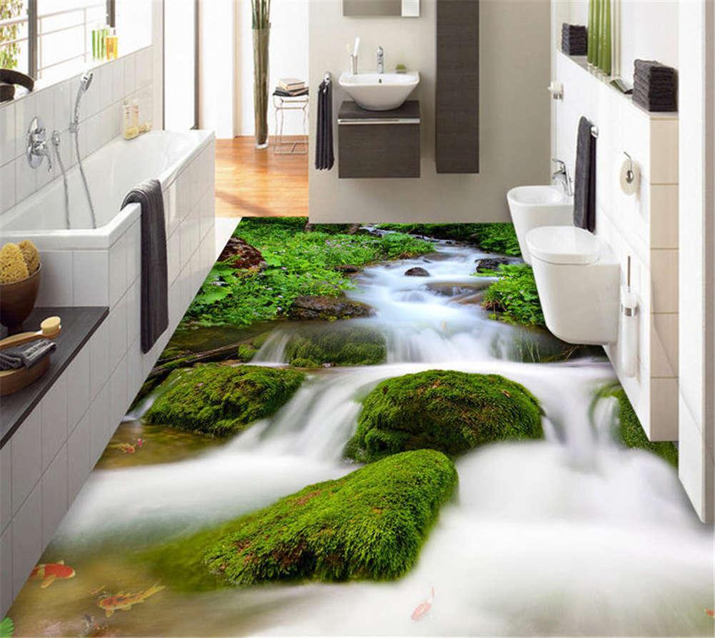 Torrential Stream 3D Floor Mural Photo Flooring Wallpaper Home Print Decoration