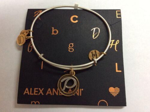 Alex and Ani Initial P Charm Bangle Bracelet Two-Tone