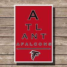 Atlanta Falcons Art Football NFL Eyechart Poster Man Cave Decor 12x16""