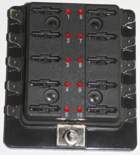 LED,Sicherungshalter KFZ//Wohnwagen//Boot Sicherungsdose mit Ausfallled 10-Fach