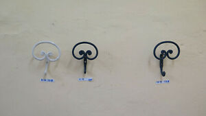 Three Coat Hangers Wrought Iron Vintage Hooks Wall CH18
