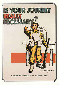 Details about Reproduction Vintage Postcard : Is your journey really  necessary WW2