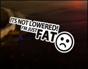 NOT-LOWERED-FAT-car-vinyl-JDM-decal-vehicle-bike-graphic-bumper-sticker-Funny