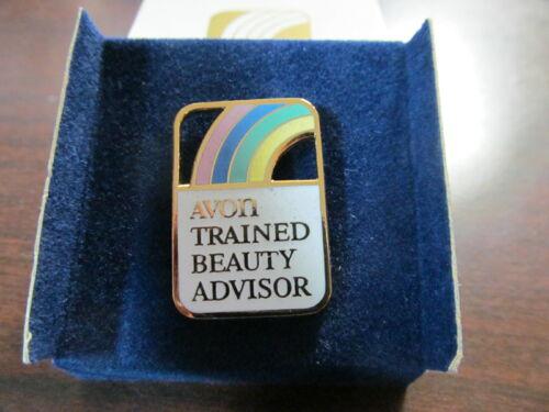 AVON TRAINED BEAUTY ADVISOR PINBACK NEW IN BOX 1988