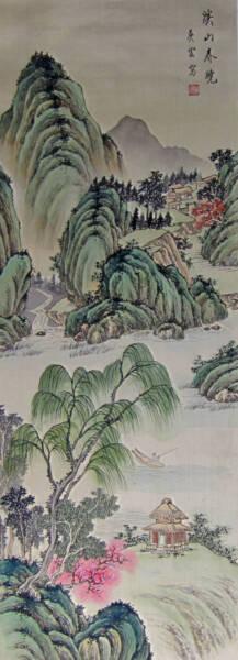 Japonés Pintura Paisaje Para Colgar Rollo Antiguo Japón Antigüedad Original Art Claro Y Distintivo