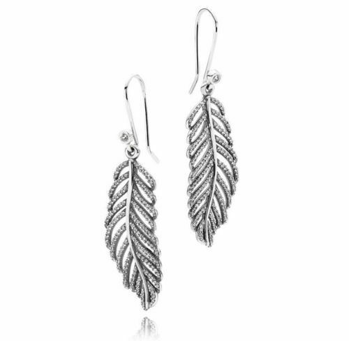 c4498af0a Authentic PANDORA Silver Light as a Feather Earrings 290680cz Retired for  sale online | eBay
